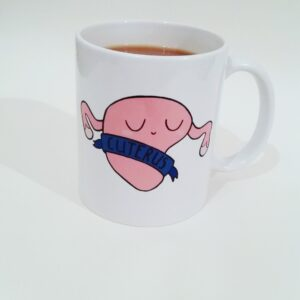 cuterus mug, vegan gift, cloth sanitary pads